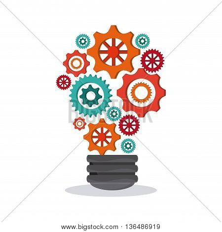 Energy concept represented by bulb  over white background. Colorfull Illustration