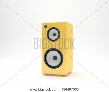 3D yellow audio speaker design photo (white background) modeling render