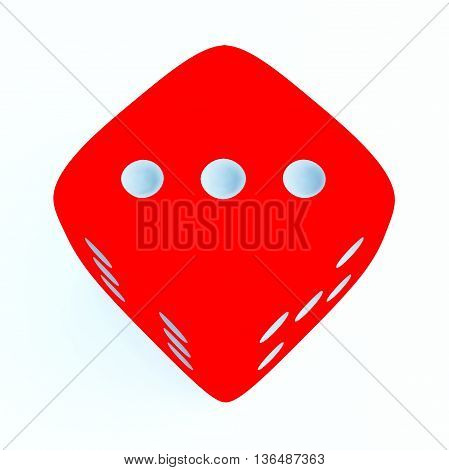 Red dice with number 3 on white background