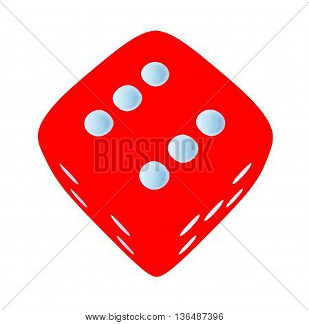 Red dice with number 6 on white background