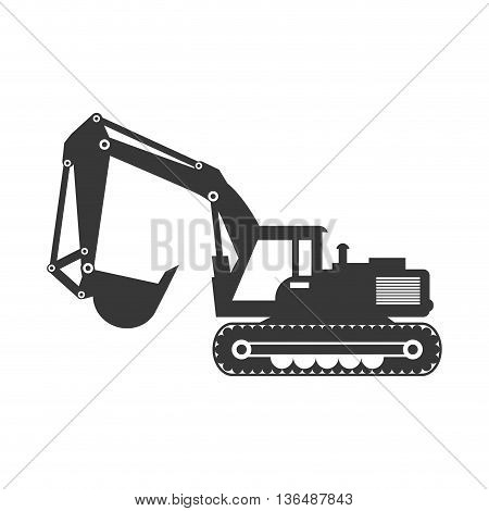 Under construction concept represented by hydraulic excavator icon. isolated and flat illustration