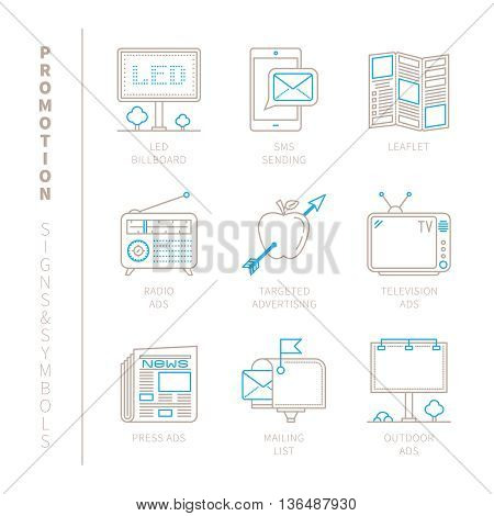 Set Of Vector Promotion Icons And Concepts In Mono Thin Line Style