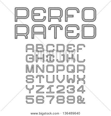 Vector Alphabet With Perforated Capital Letters In Flat Style