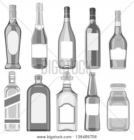 A set of glass bottles with different drinks. Vector illustration on a white background.