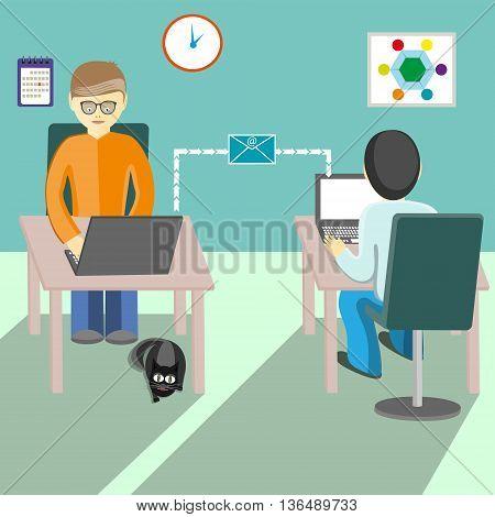 Communication between people on the Internet.Flat illustration.