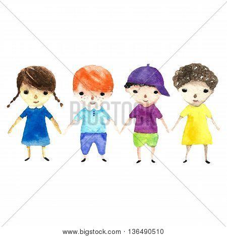 Watercolor children illustration. Vector cartoon illustrations gerl and boy.