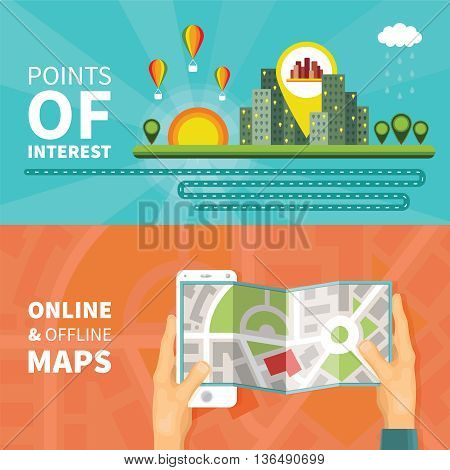 Gps Maps And Navigation Vector Concepts Set