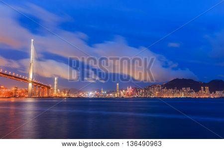 Hong Kong bridge City Light night time