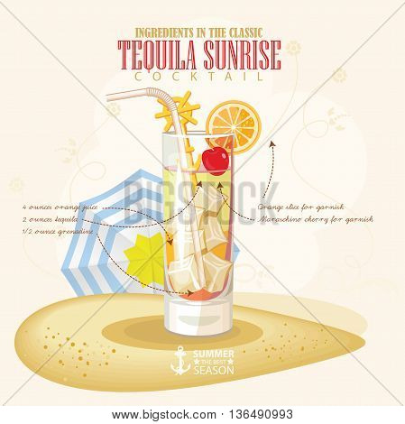 Vector illustration of popular alcoholic cocktail. Tequila Sunrise club alcohol shot.