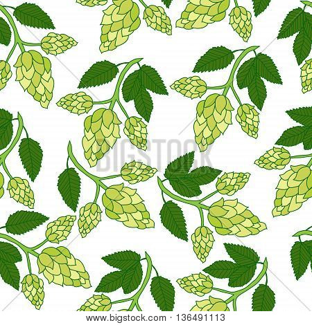 Hops plant seamless pattern hand drawing style. Hops background. Hops wallpaper. Vector illustration