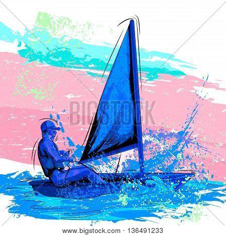 Concept of sportsman Rowing boat. Vector illustration
