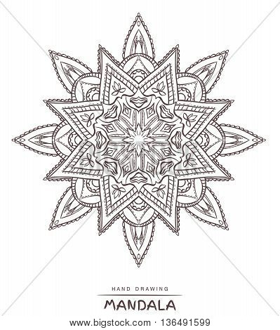 Vector mandala for coloring with ethnic decorative elements. Patterned Design Element Coloring book.