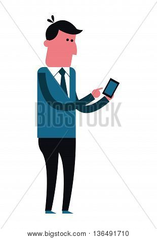 People concept represented by cartoon man with smartphone icon. Isolated and Colorfull illustration