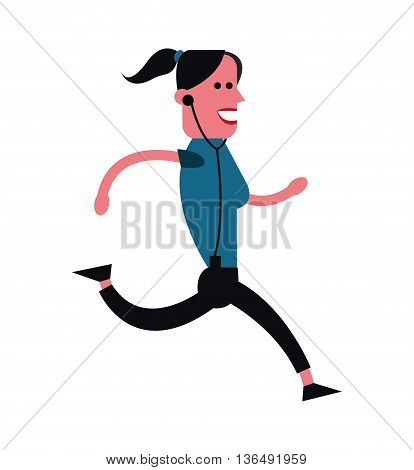 People concept represented by cartoon woman running icon. Isolated and Colorfull illustration