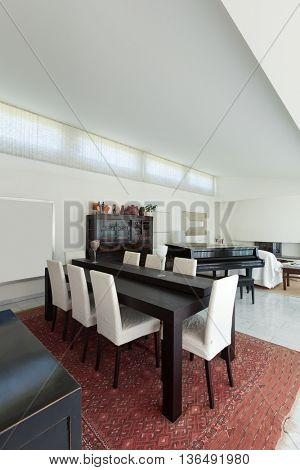 Dining room of a modern house, interior