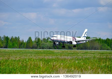 SAINT PETERSBURG RUSSIA - MAY 11 2016. Airplane. Airplane closeup. SX-DVU Aegean Airlines Airbus A320 airplane after arrival at Pulkovo airport.