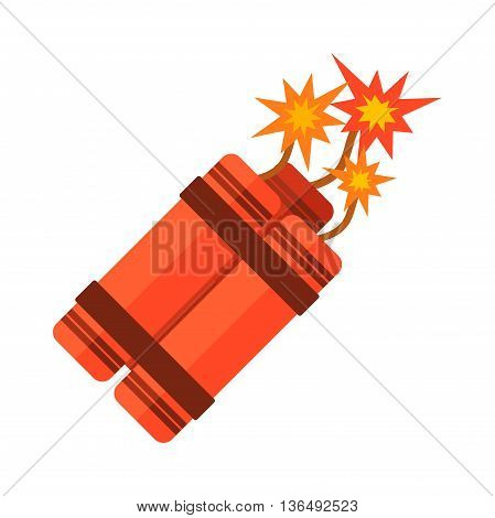 Dynamite bomb explosion violence detonate dynamite bomb. Aggression cartoon dynamite bomb with sparkle. Dynamite bomb with burning danger explosive weapon flat vector