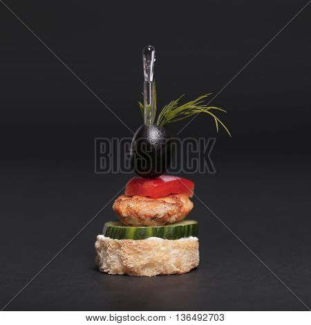 Food. Delicious appetizer on a black background