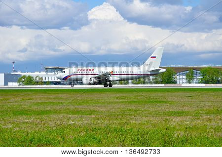 SAINT PETERSBURG RUSSIA - MAY 11 2016. VQ-BAR Rossiya Airlines Airbus A319 airplane. Airplane rides on the runway after landing.