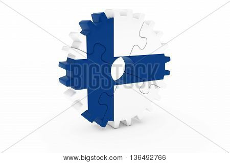 Finnish Industry Concept - Flag Of Finland 3D Cog Wheel Puzzle Illustration