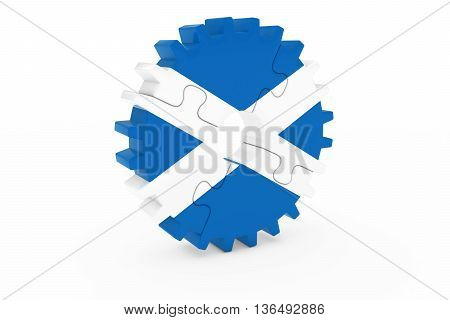 Scottish Industry Concept - Flag Of Scotland 3D Cog Wheel Puzzle Illustration