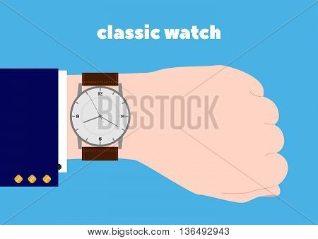 Hand and classic watches. Businessman's hand. Flat design.