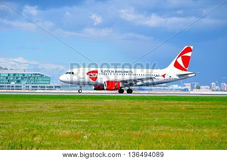 SAINT PETERSBURG RUSSIA-MAY 11 2016. OK-MEK CSA Czech Airlines Airbus A319 airplane on the runway after landing in Pulkovo airport.
