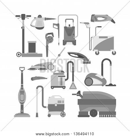 Professional vacuum cleaning equipment isolated on white background. Vector cleaning equipment tool and service cleaning equipment housework tools. House product chemical washing tool