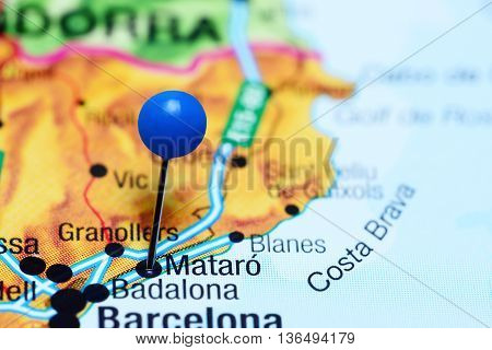 Mataro pinned on a map of Spain
