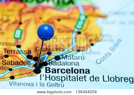 Barcelona pinned on a map of Spain