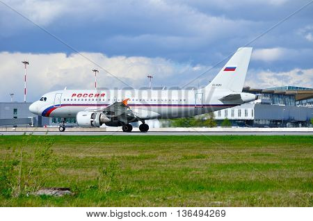 SAINT PETERSBURG RUSSIA - MAY 11 2016. EI-EZC Rossiya Airlines Airbus A319 airplane after arrival at Pulkovo airport.