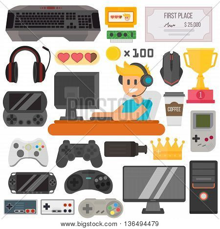 Flat design kiber sport gaming vector illustration concept game environment, tools and essentials. Various devices gaming sport. Collection virtual computer gamer items and game sport elements.