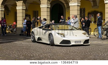 Sant'Agata Bolognese, Italy - April 30, 2016: Lamborghini parade in front of the municipality of Sant'Agata Bolognese for the 100th Ferruccio Lamborghini Anniversary