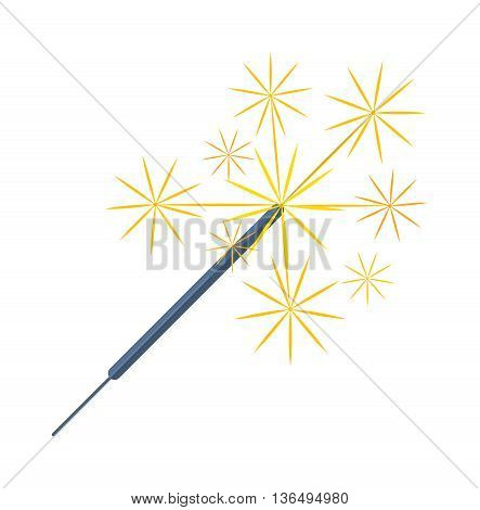 Party sparkler icon on white background vector. Energy light festive fire anniversary symbol sparkler. Sparkler holiday fire flame fun glowing firework. Pyrotechnics festival birthday shine.