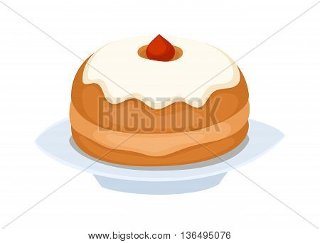 Sweet cake isolated on white. Traditional sweet cake holliday vector. Cake food sweet vector. Food fresh cake