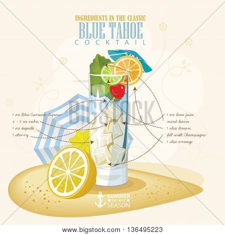 Vector illustration of popular alcoholic cocktail. Blue tahoe club alcohol shot.