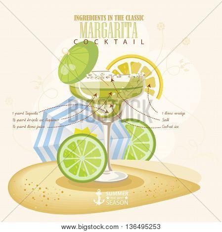 Vector illustration of popular alcoholic cocktail. Margarita club alcohol shot.