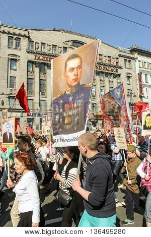 St. Petersburg, Russia - 9 May, People with a portrait of Marshal Rokosovsky, 9 May, 2016. Holiday-action