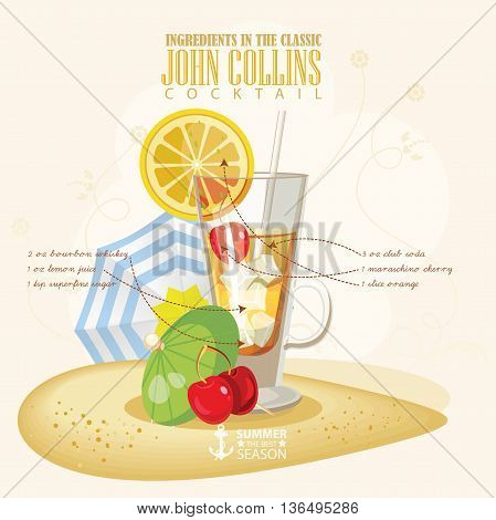 Vector illustration of popular alcoholic cocktail. John Collins club alcohol shot.