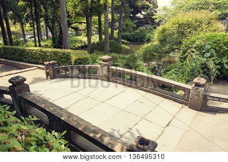 Japanese humpbacked stone bridge in park by summer