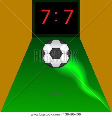 Football or soccer score. Display 7.7, the ball on the green field