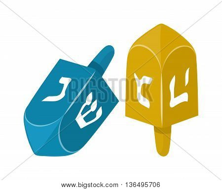 Cute dreidel turning twisting spinning jewish toy. Jewish toy holiday hebrew celebration top religion game symbol. Traditional religious isolated wood vector jewish toy dreidel celebration.