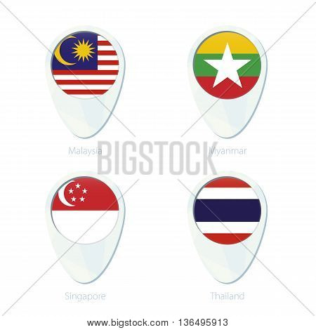 Malaysia, Myanmar, Singapore, Thailand Flag Location Map Pin Icon.
