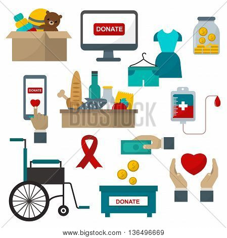 Donate help symbols charity organization heart flat icons set of food and clothes donation abstract isolated vector illustration. Humanitarian holding money donate help symbols. Donate symbols.