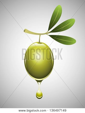 Olive with a drop of pure oil