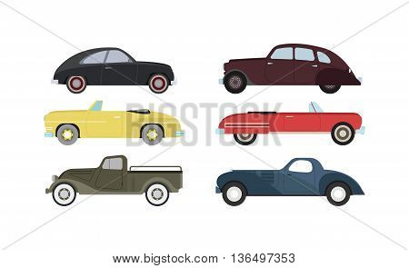 Retro cars icons vintage vector. Classic transportation auto vehicle retro car. Retro car nostalgia automobile old design. Graphic emblem race engine machine shop antique wheels set.