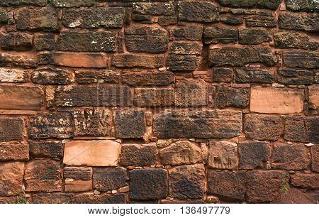 Stone texture wall - San Ignacio Jesuites ruins, Misiones, Argentina