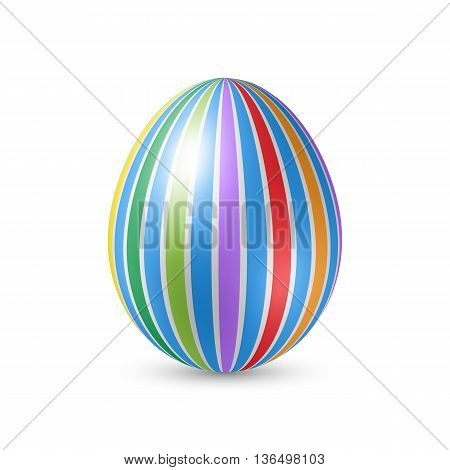 Easter Egg with Vertically Strips Texture and Shadows