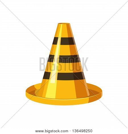 Yellow and black traffic cone icon in cartoon style on a white background