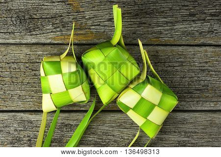 Ketupat (rice Dumpling). Ketupat Is A Natural Rice Casing Made From Young Coconut Leaves For Cooking